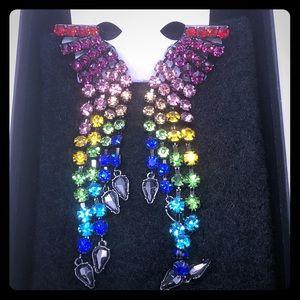 Betsey Johnson Clip on Rainbow Bling Earrings NWT
